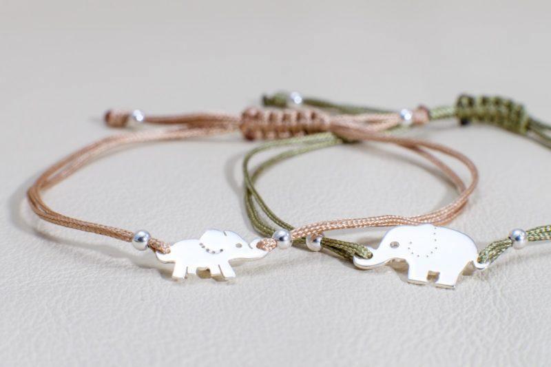 Elefant Elephant Sterlingsilber Armband viele Farben zur Auswahl