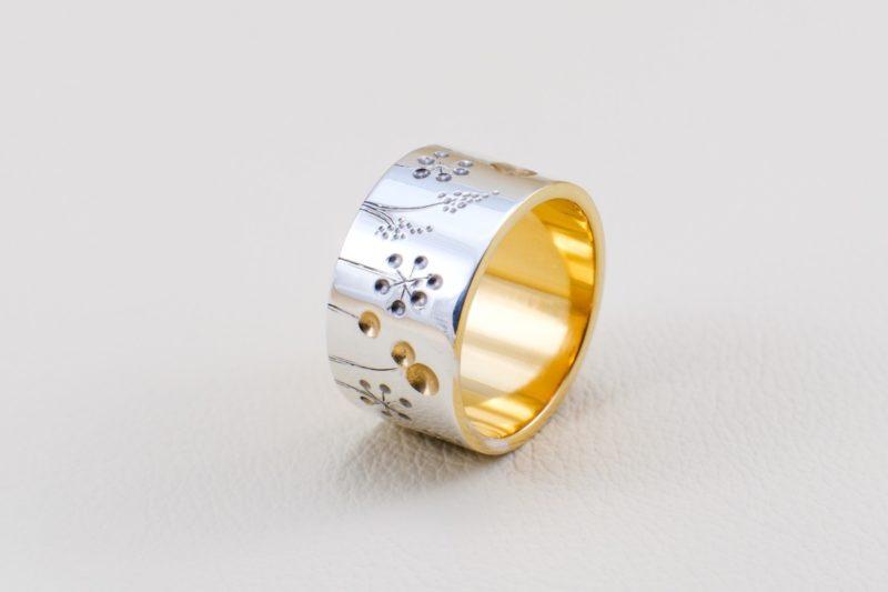Blumenwiesenring Sterlingsilber vergoldet