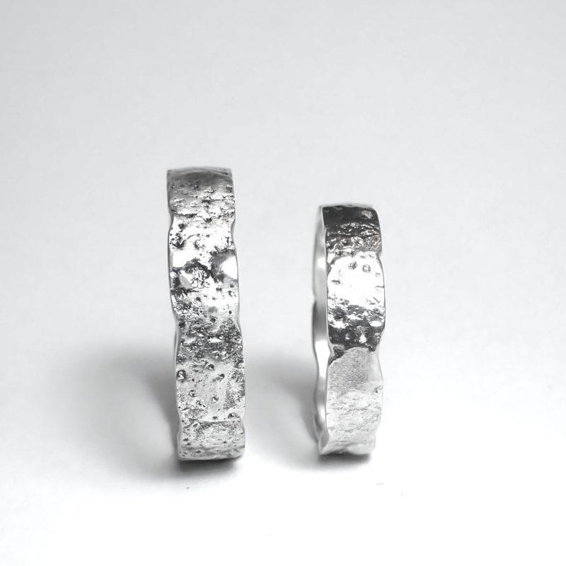 Shabby look Ringe Eheringe Sterlingsilber strukturierte Oberfläche