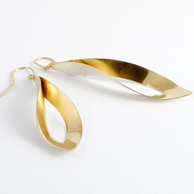 Blatt Ohrringe Sterlingsilber vergoldet