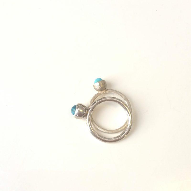 Zarte Ringe aus Sterlingsilber mit Türkis