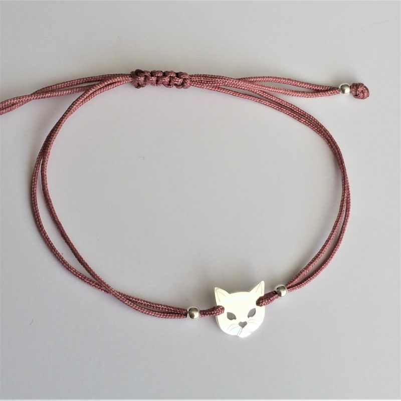Katzen Kopf Sterlingsilber Armband viele Farben zur Auswahl