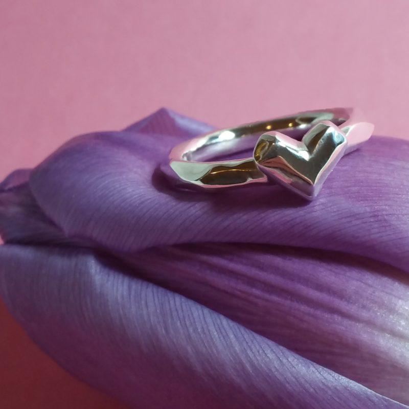 Facettierter Herz Ring Sterlingsilber