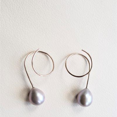 Graue Perlentropfen Ohrringe Sterlingsilber