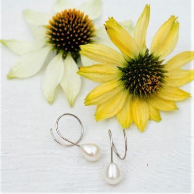 Weiße Perlentropfen Ohrringe Sterlingsilber