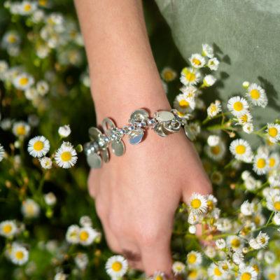 Massives Armband hochglänzenden Plättchen Sterlingsilber