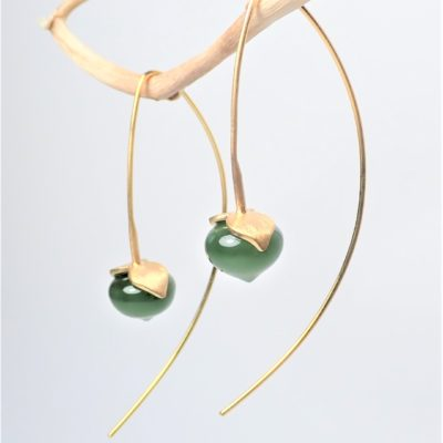 Jade Ohrringe Sterlingsilber vergoldet