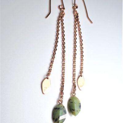Lange Ohrringe Sterlingsilber rose vergoldet mit Opal-Matix Blatt