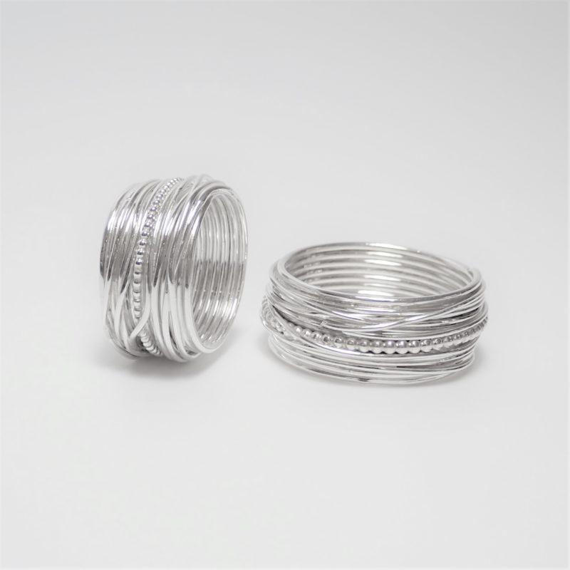 Gewickelte Ringe Wickelringe mit Kugelring Sterlingsilber