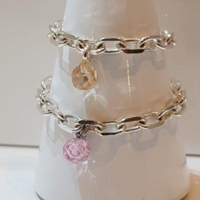 Kettenring Ring Sterlingsilber zart mit Zirkonia Kugel rosa und champagner