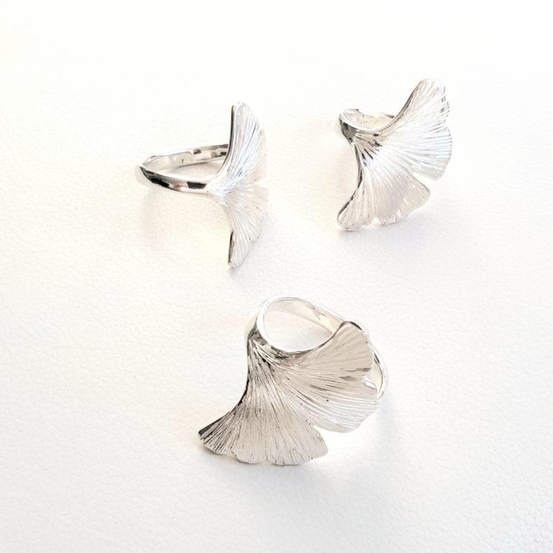 Ginkoblatt Ring Sterlingsilber
