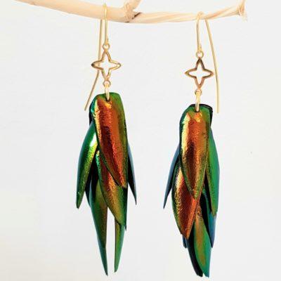Juwelkäfer Ohrringe mit Ornament Sterlingsilber vergoldet
