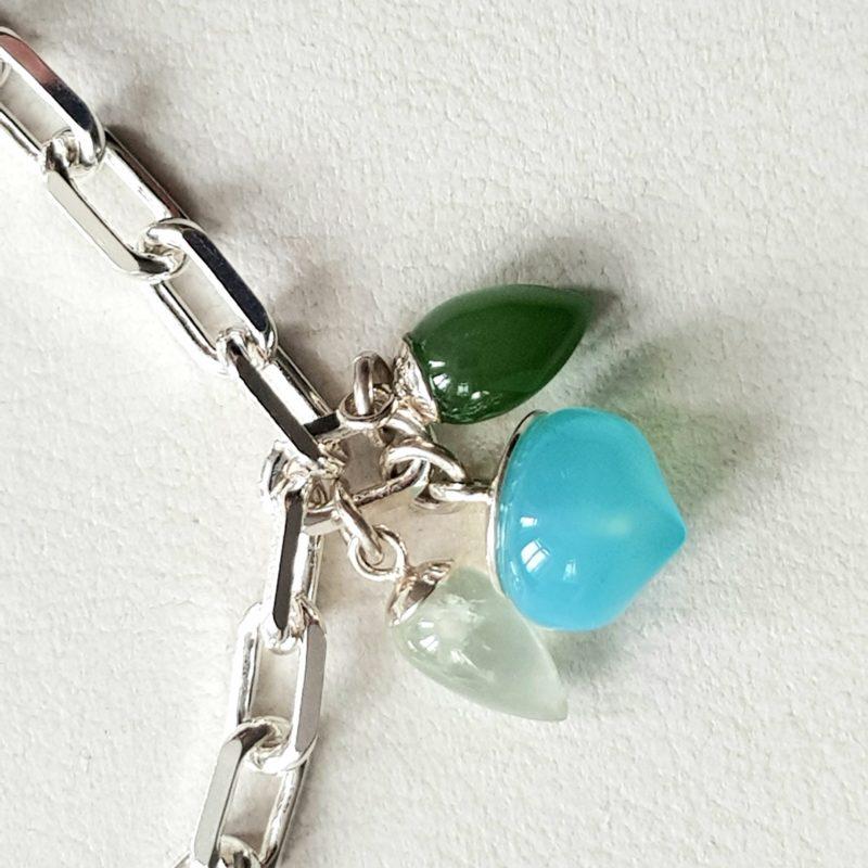 Armband Sterlingsilber mit Charms Anhängern grüne Jade, türkiser Calceton und hellgrüner Prasiolith
