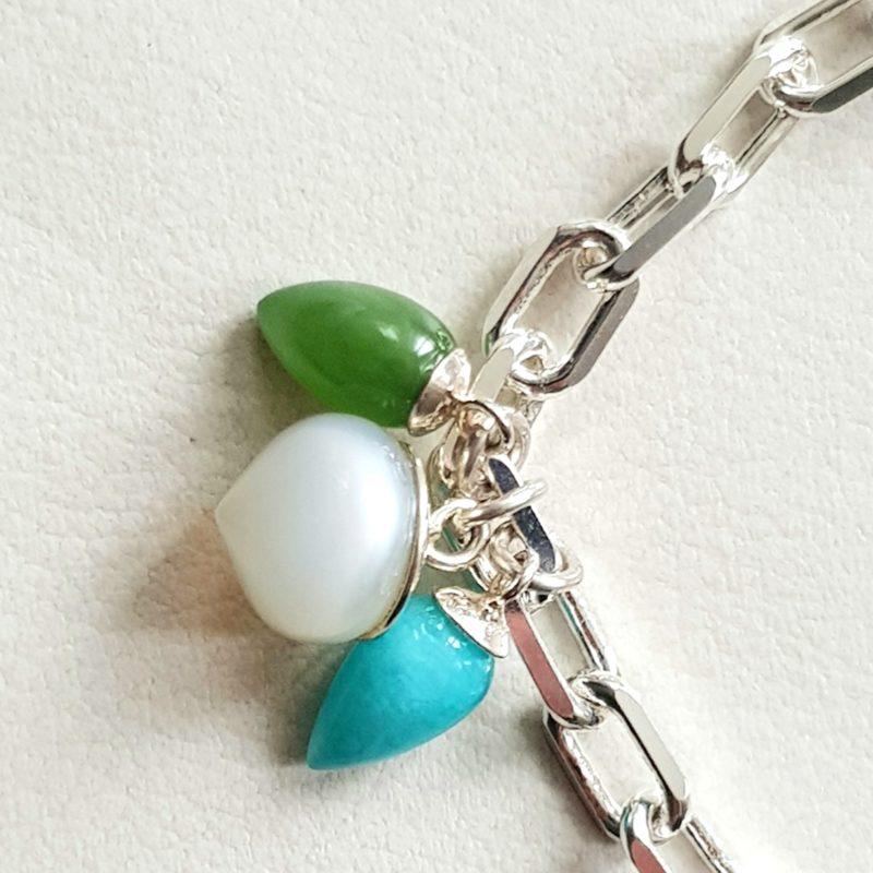 Armband Sterlingsilber mit Charms Anhängern grüne Jade, türkiser Calceton und weißer Mondstein